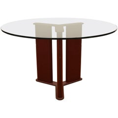 French, Round Leather, Pedestal Dining Table