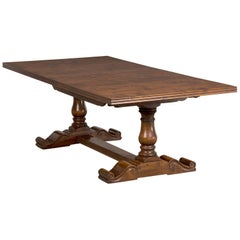 English Hand-Planed, Waxed Cherrywood Trestle Dining Table with Three Leaves