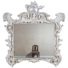 Antique French Baroque Period Hand-Carved Frame Mirror, circa 1750