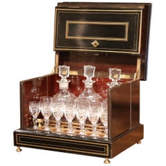 19th Century French Napoleon III Mahogany Cave à Liqueur with Bronze Inlay