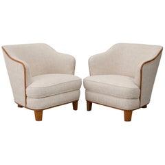 Pair of Lounge Chairs by Swedish Designer Tor Wolfenstein, circa 1940