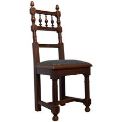 Handcrafted Carved Solid Oak Chair with Light Blue Upholstery for Child or Doll