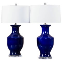 Pair of Vintage Cobalt Blue Chinese Vases, circa 1940 Mounted as Custom Lamps