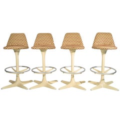 Set of Four Tulip Saarinen Style Swivel Bar Stools