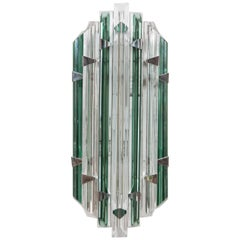 Vintage Venini Emerald Crystal Sconces