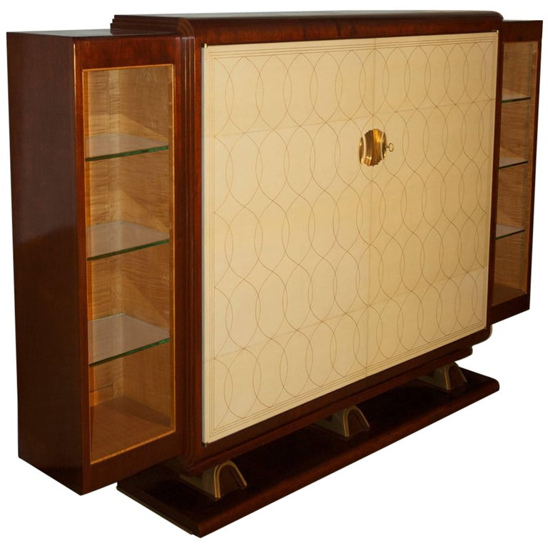 rousseau and lardin cabinet with parchment doors for sale at 1stdibs. Black Bedroom Furniture Sets. Home Design Ideas