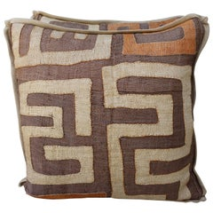 Brown, Wheat and Orange Colored Kuba Cloth Pillows, Pair