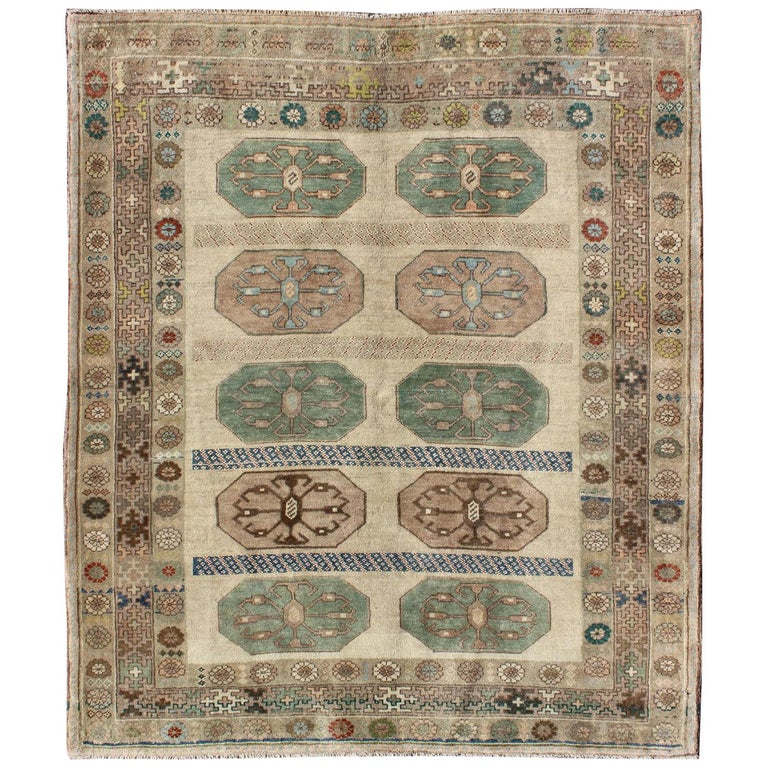 Midcentury Turkish Oushak Rug With Ten Geometric