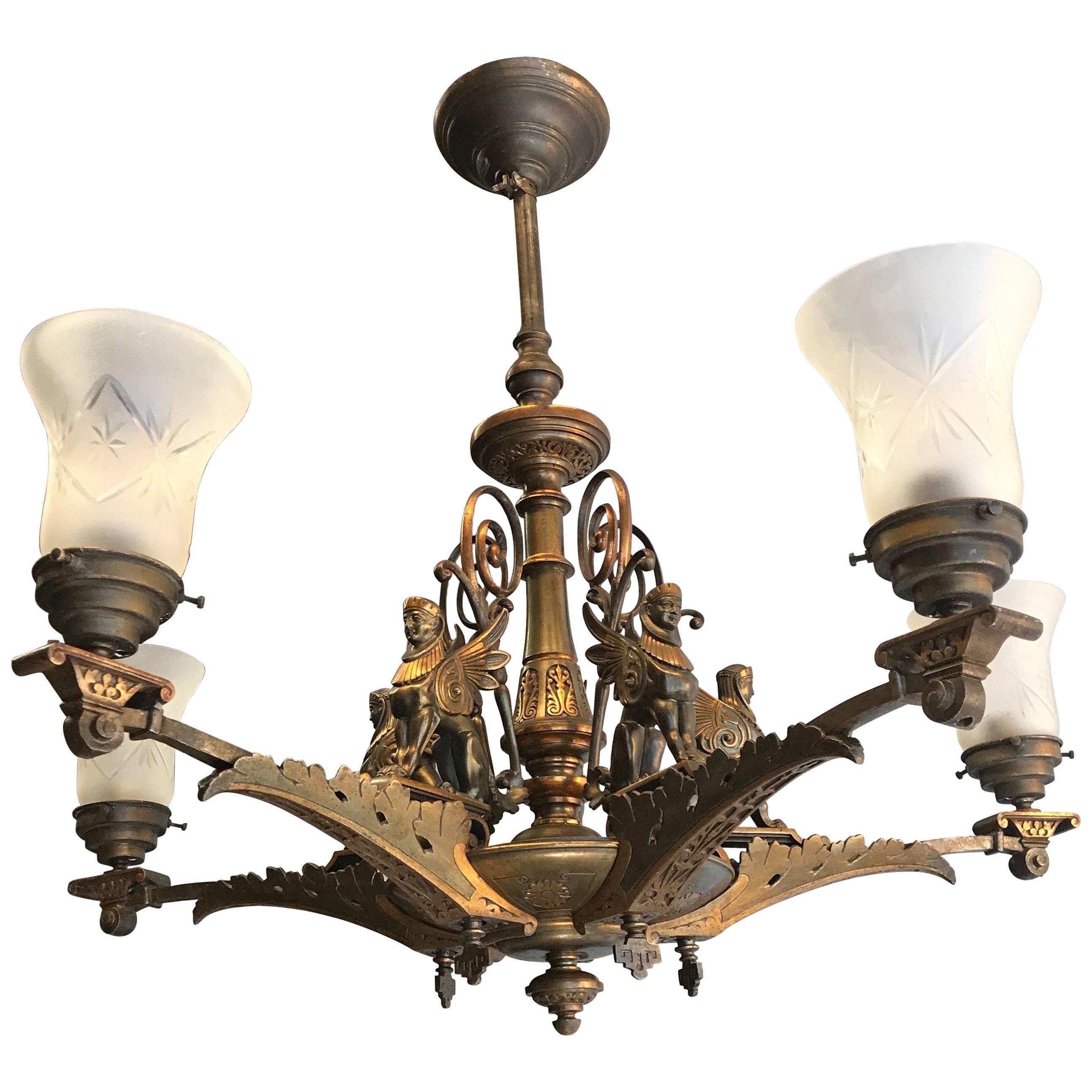 19th Century Bronze Egyptian Revival, Empire Gas Light Sphinx Chandelier Pendant