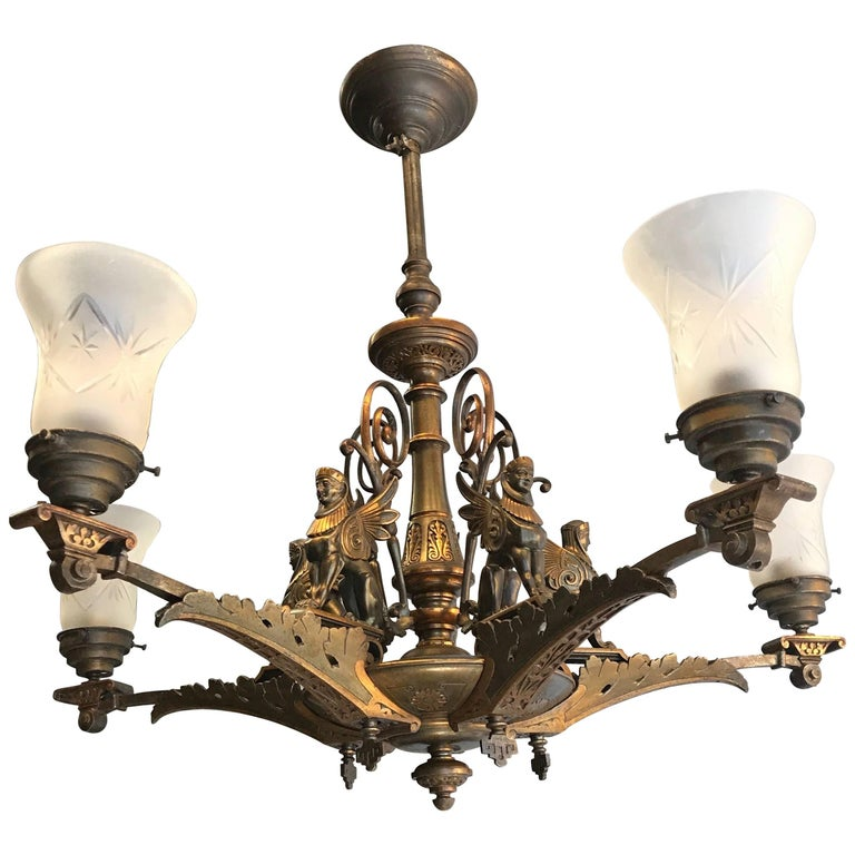 19th Century Bronze Egyptian Revival Empire Gas Light Sphinx Chandelier For