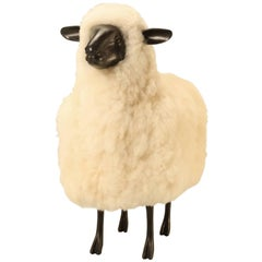 Lamb in the Style of Lalanne Made from Solid Bronze and Real Fur