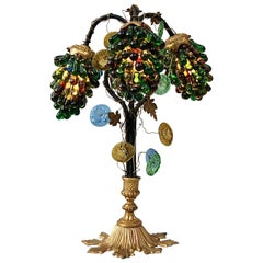 Ornate Italian Murano Glass Grape Table Lamp, Early 20th Century