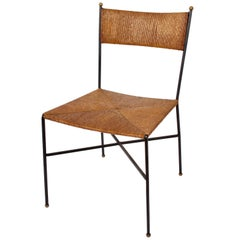 1950s Milo Baughman for Murray Furniture Black Wrought Iron and Rush Desk Chair