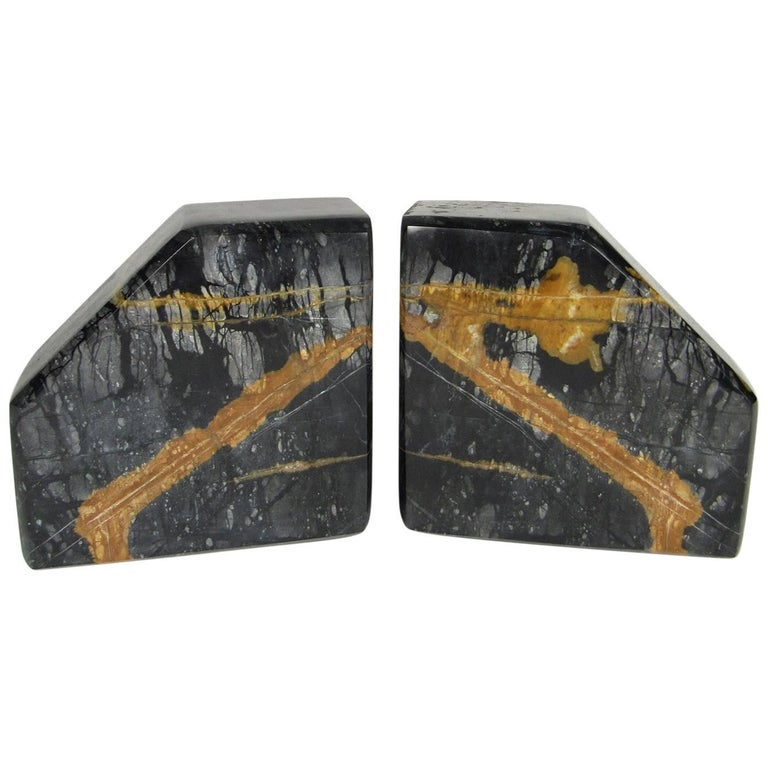 Vintage Pair of Variegated Marble Bookends For Sale
