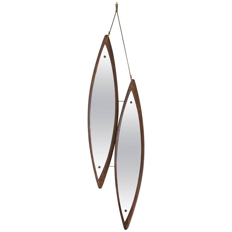 Midcentury Italian Double Diamond Duo Mirror in Rosewood For Sale
