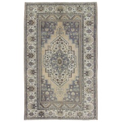 Vintage Turkish Oushak Rug with Floral Medallion in Gray, Ivory and Mint Green