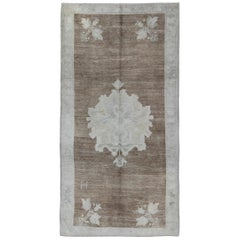 Vintage Turkish Oushak Rug with Floral Cornices in Light Brown, Gray and Ivory