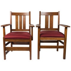 Pair of Signed Stickley Armchairs
