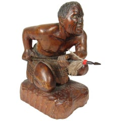 Early 20th Century Carved and Polychromed Figure of a Maori Warrior