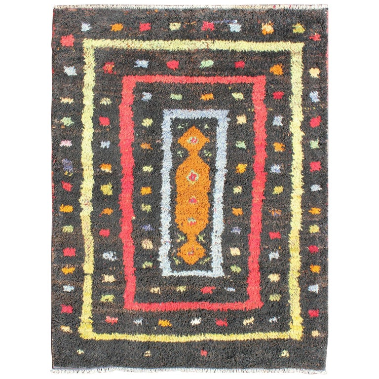Yellow Checkered Rug: Vintage Turkish Tulu Rug With Tribal Pattern In Black