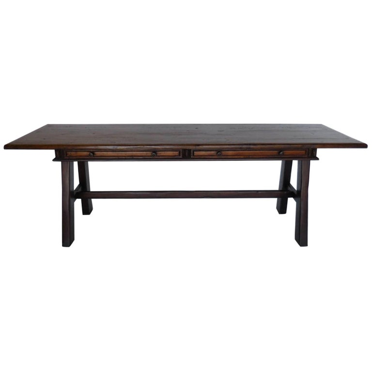 Dos Gallos Custom Walnut Desk with Straight Legs and Pencil Drawers
