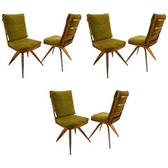Striking Brutal Dining Chairs Set of Six Torch Cut Steel in Gold Leaf Finish