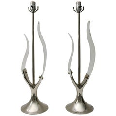 Pair of Table Lamps in Lucite and Polished Chrome