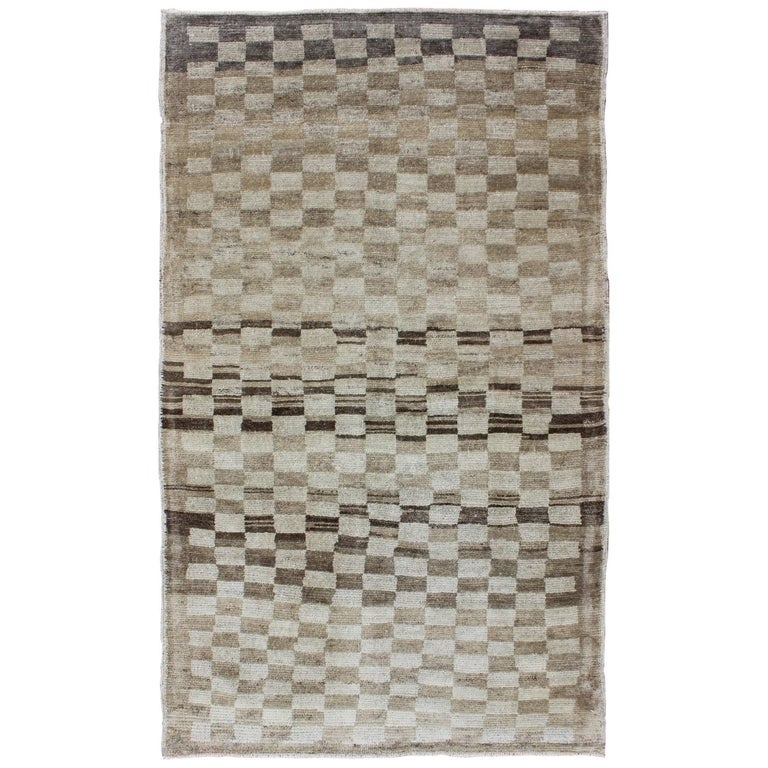 Checkerboard Rug: Mid-Century Checkerboard Vintage Turkish Tulu-Oushak Rug
