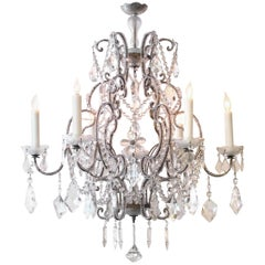 Lustrous Italian Rococo Style Cage-From Beaded Six-Light Chandelier