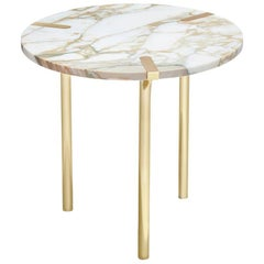 Sereno Side Table / End Table in Calacatta Marble and Polished Gold