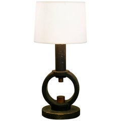 One of a Kind Black Wooden Table Lamp with Shade