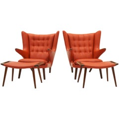 Pair of Hans Wegner Papa Bear Chairs and Ottomans for A.P. Stolen