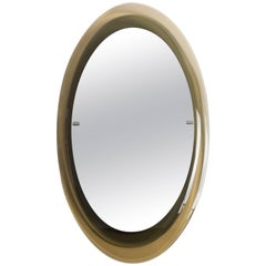 Max Ingrand for Fontana Arte Oval Glass Framed Mirror, Model 2046, Italy, 1960s