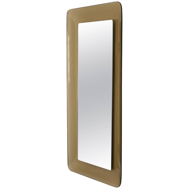 Max Ingrand for Fontana Arte Amber Glass Framed Mirror, Model 2273