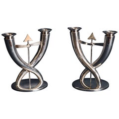Gio Ponti for Christofle Pair of Flèche Candelabra