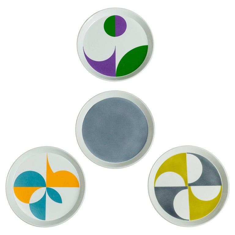 Gio Ponti for Ceramica Franco Pozzi Set of Four Ceramic Plates, Italy circa 1967 1