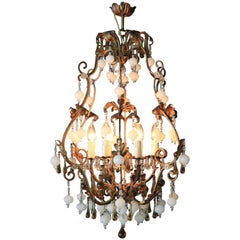 Special Murano Crystal Chandelier White and Brown Colorful Amber Lustré Cage