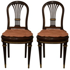 Pair of Antique French Mahogany and Ormolu-Mounted Chairs