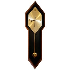 Vintage Arthur Umanoff Pendulum Clock for Howard Miller in Walnut Caze