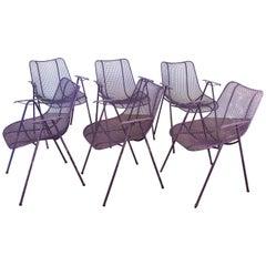 Set of Six Purple Woodard Garden Armchairs