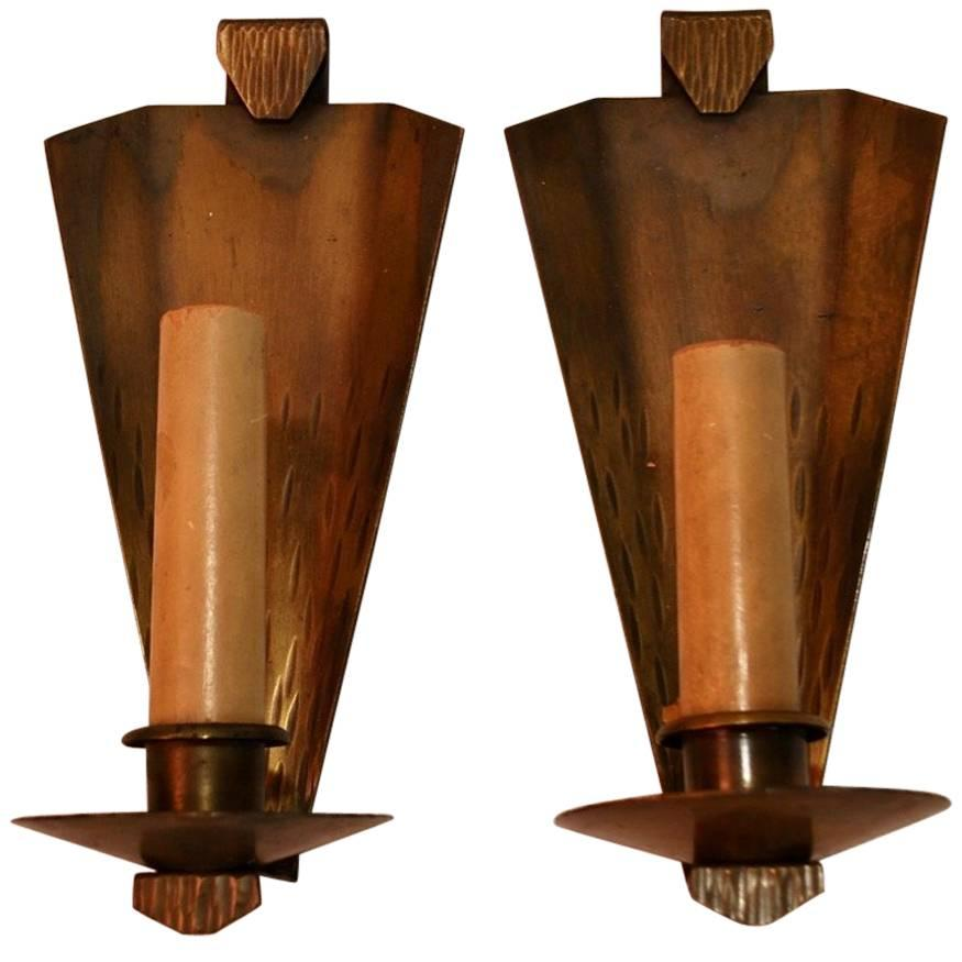 Elegant Pair Of Arts U0026amp; Crafts Copper Sconces Signed Roycroft