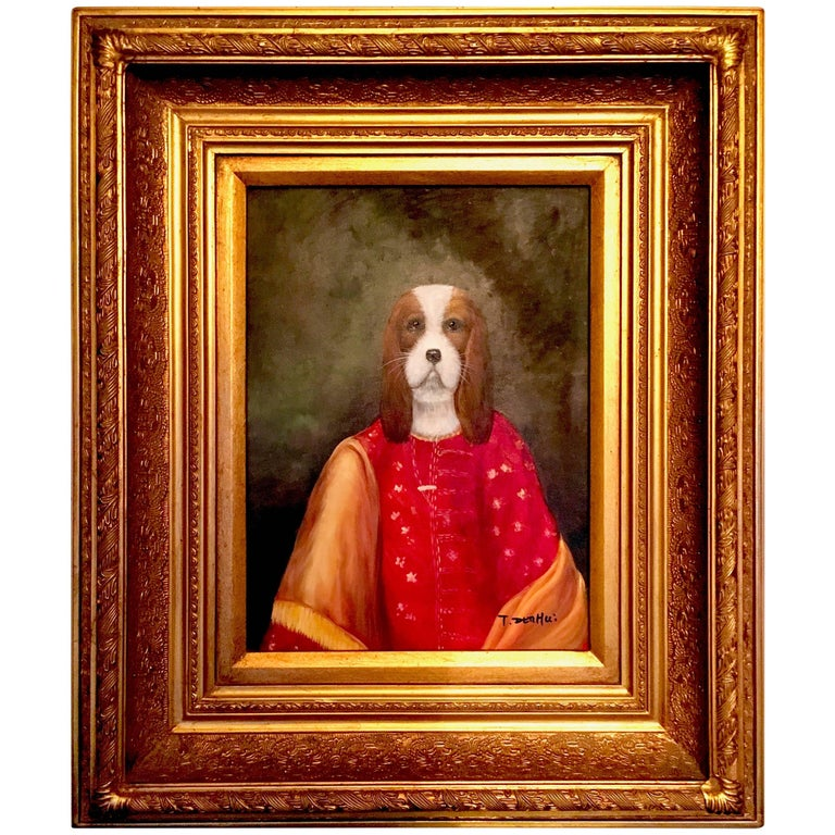 Oil Portrait of a Beagle Dog in Heavy Gilt Frame For Sale