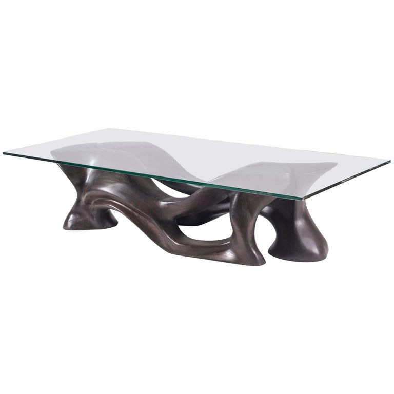 Contemporary Coffee Table Solid Ashwood Dark Brow Stained With Glass Top For Sale At 1stdibs