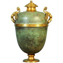 Tuscany Amphora in Copper Patina and Gilded Bronze Handmade by Master Artisans