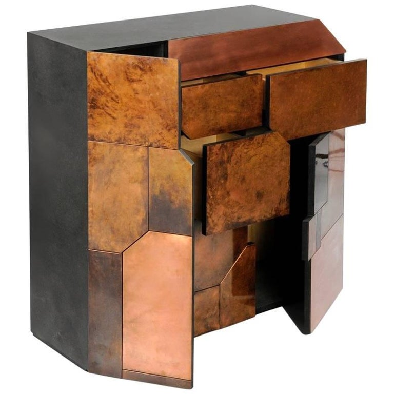 Elementi Copper Patina Sculptural Cabinet by Andrea Felice  For Sale