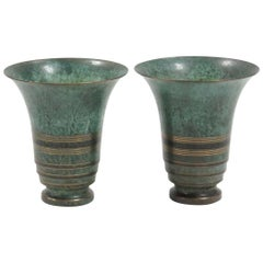 Carl Sorensen Patinated Bronze Art Deco Vases, circa 1920