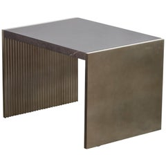 Fluted Silver Table with Polished Marble Top, Handmade in Italy