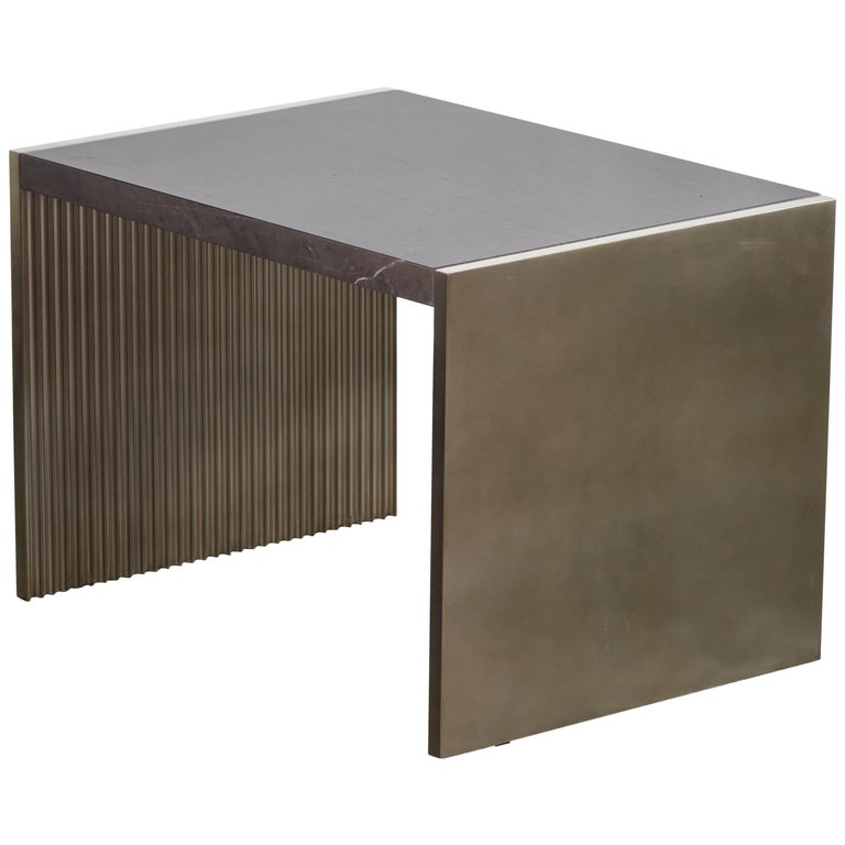 Fluted Silver Table with Polished Marble Top, Handmade in Italy For Sale
