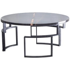 Hammered Windows Ellipse Table with Noir Doré Top and Burnished Hammered Steel