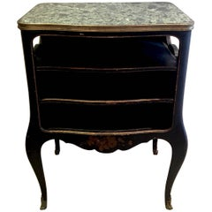 Commode French 18th Century Black Chinoiserie Lacquer